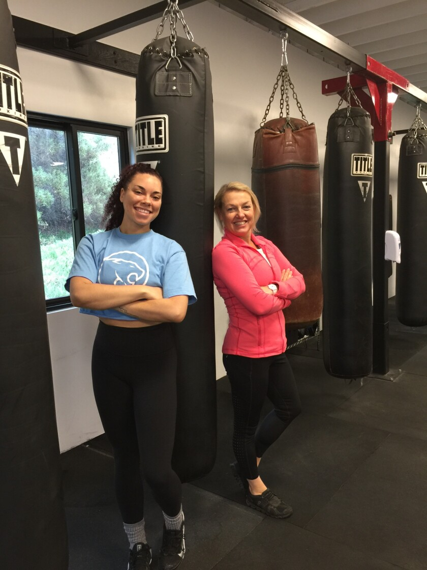 Rock Steady Boxing coaches Lenzi Marshall and Ingrid Johnson.
