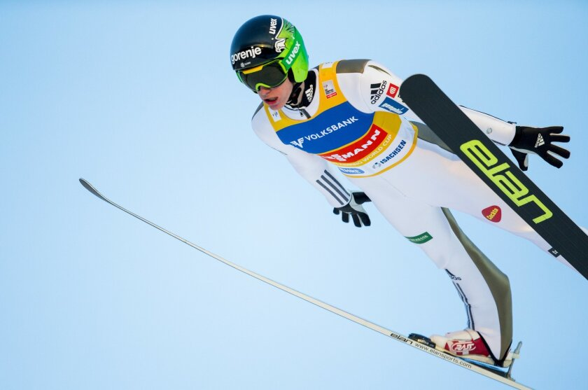 Peter Prevc from Slovenia in the air during the FIS Ski Jumping World Cup Flying Hill competition in Vikersund, Norway, Saturday, Feb. 13, 2016. (Vegard Wivestad Grott / NTB scanpix via AP) NORWAY OUT