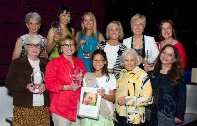 At a recent awards luncheon, Girl Scouts San Diego presented the Cool Women Class of 2014: (back row, left to right) Nancy A. Spector, June Shillman, Melissa d'Arabian, Pamela Mudd, Patricia McArdle and Magda Marquet; (front) Sister Ann Durst, Justice Judith McConnell, Cool Girl Ursula Hardianto, D