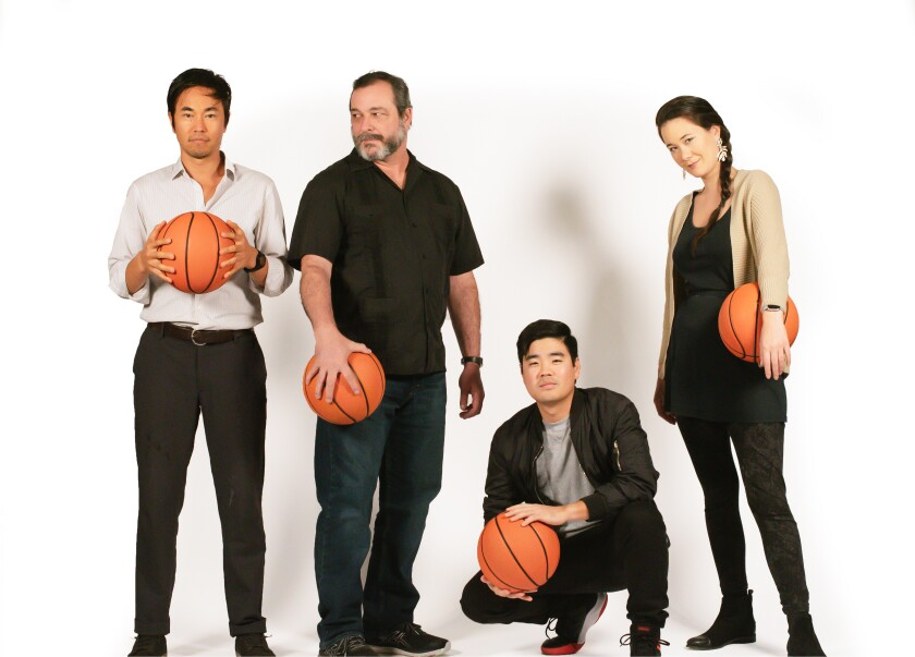 """Edward Chen, Manny Fernandes, Scott Keiji Takeda and Keiko Green (from left) in Cygnet Theatre's """"The Great Leap."""""""
