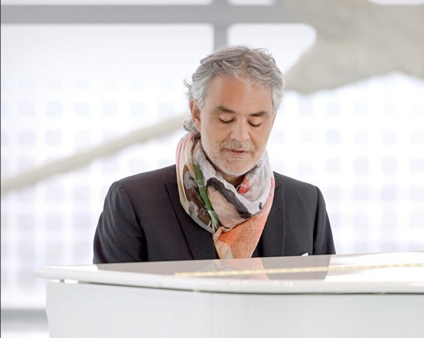 Andrea Bocelli will perform in a Pavarotti benefit concert Sept. 25 at the Dorothy Chandler Pavilion.