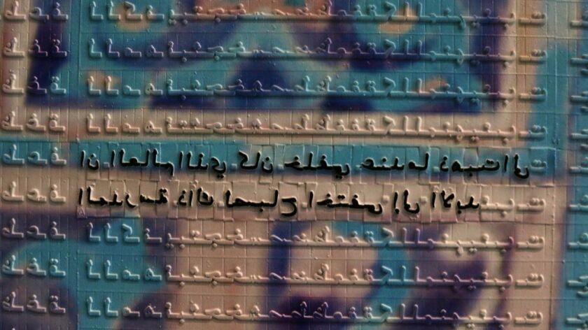 "A detail from Abdulnasser Gharem's ""Camouflage,"" showing hidden messages."