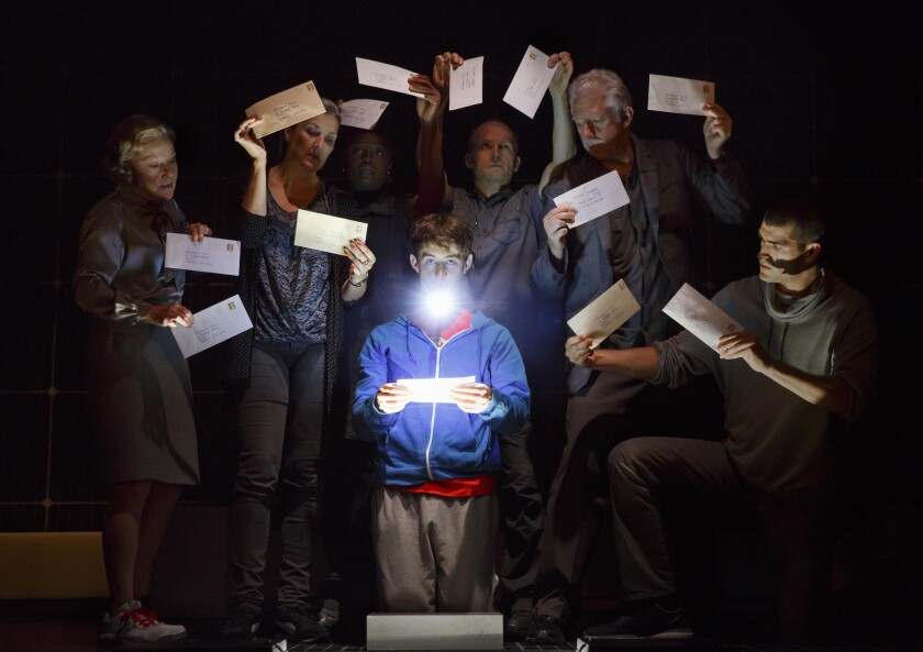 "Alex Sharp and cast members in the play ""The Curious Incident of the Dog in the Night-Time."""