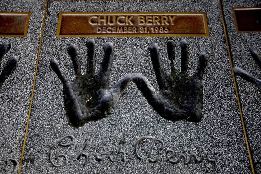 Berry's handprints are part of the Rock Walk at the entrance to Guitar Center in Hollywood.