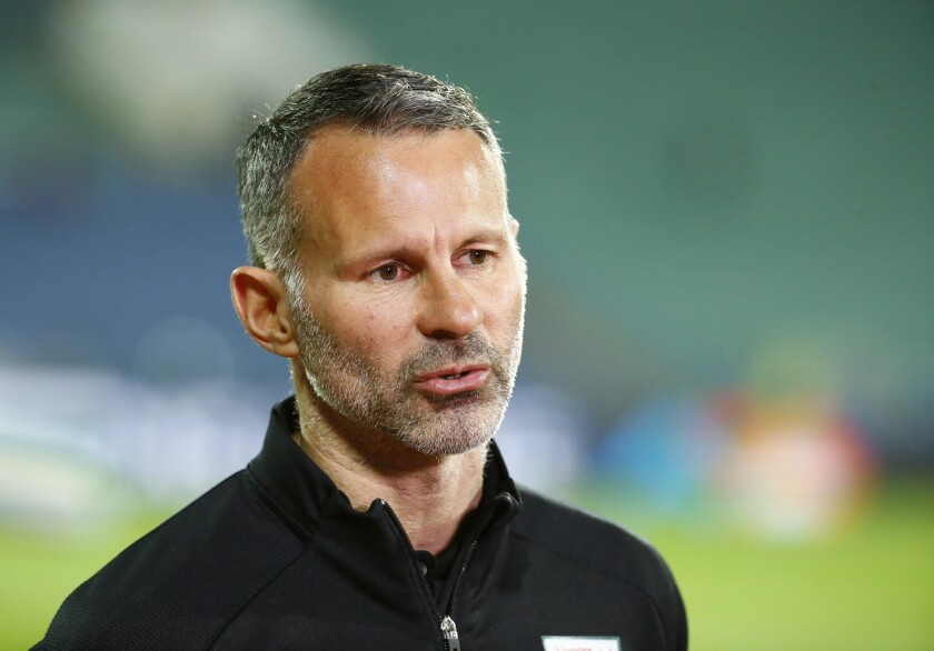 Wales coach Ryan Giggs talks to media prior to the UEFA Nations League soccer match between Bulgaria and Wales at Vassil Levski national stadium in Sofia, Bulgaria, Wednesday, Oct. 14, 2020. (AP Photo/Anton Uzunov)