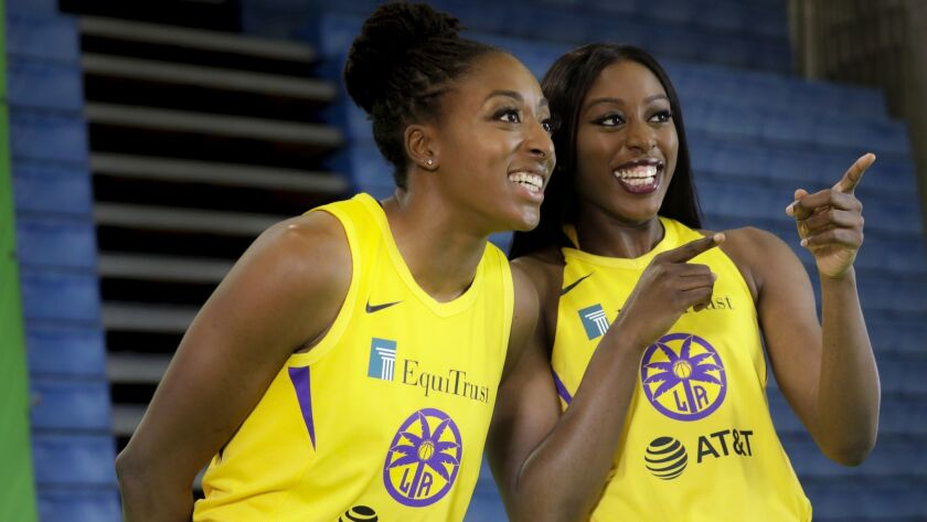 Sisters Nneka Ogwumike, left, and Chiney Ogwumike take part in media day at L.A. Southwest College.