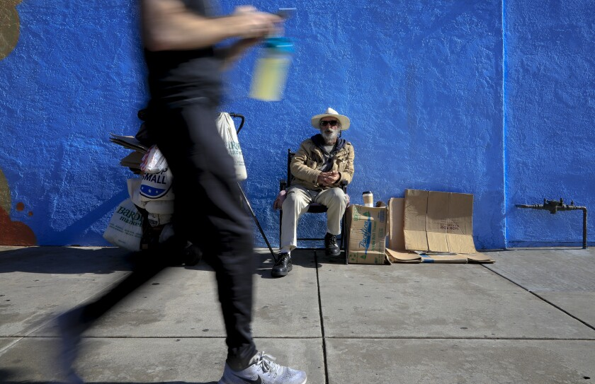 Ray Taylor, 58 has been homeless for the past eight years and for the past year or so has been at a spot just outside the Nomads Donuts in North Park. Because of the declining 2008 economy, he lost his job and was getting by on unemployment benefits. But after his benefits ended, he had no other means of income and eventually led to his homeless situation.