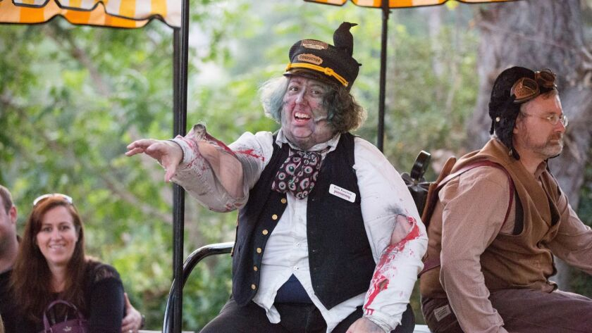 An annual favorite, Kim Keeline returned as the scary conductor on the Poway Midland Railroad train.