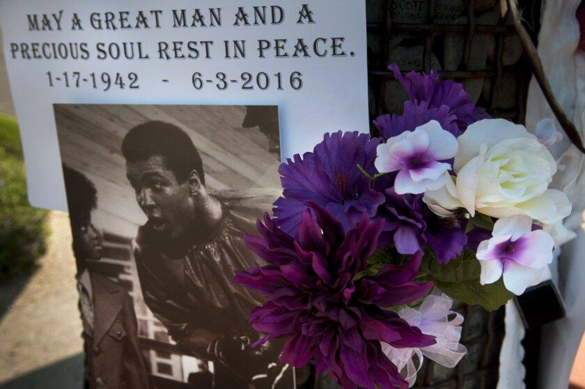 A memorial to Muhammad Ali sits outside HonorHealth Scottsdale Osborn Medical Center in Arizona.