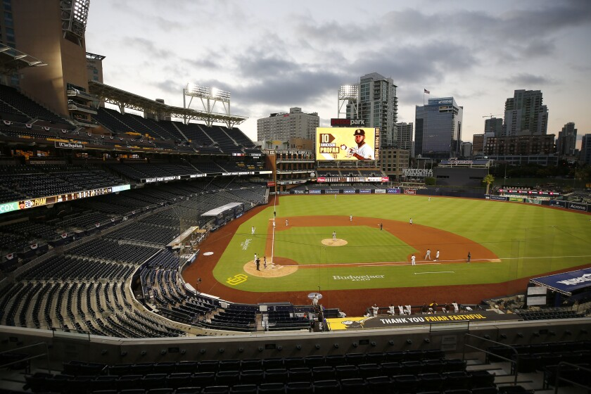 The Padres played in front of no fans at Petco Park in 2020. Fans are expected to be allowed back inside in 2020.