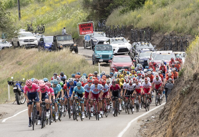 20190514. The Education First team with Taylor Phinney setting the pace, leads the peloton, followe