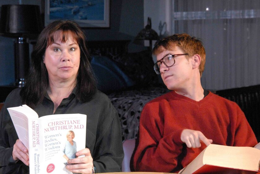"""Dana Hooley (left) and Eric Parmer in Ion Theatre's """"Body Awareness."""""""