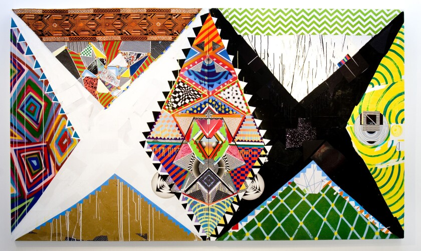 """A Brian Porray work titled """"++4Nti EV1L-EY3++,"""" 2013, synthetic polymer, spray paint, paper, fabric and colored pencil on canvas, 80 by 136 inches."""