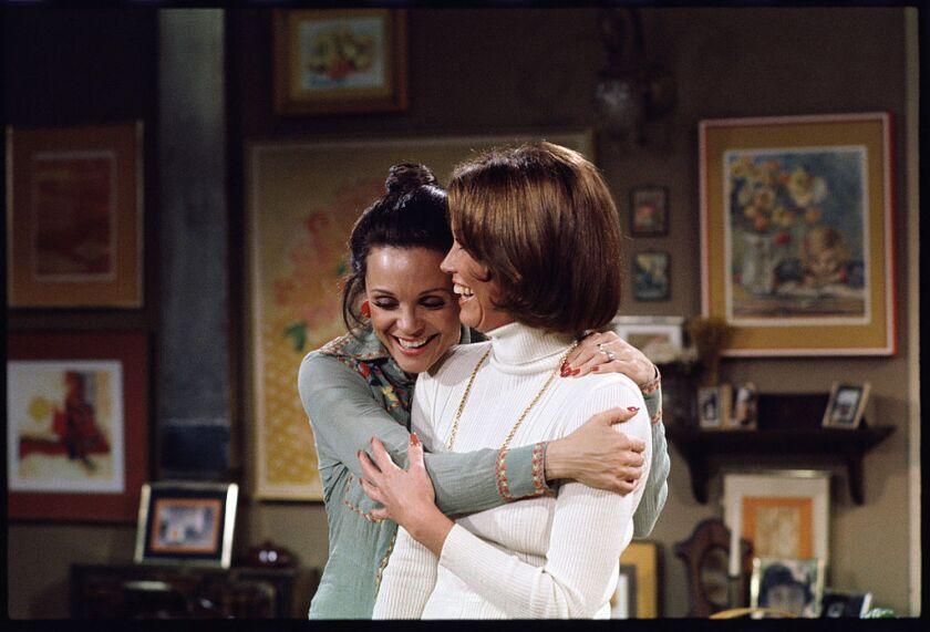 """Valerie Harper, left, and Mary Tyler Moore on """"Rhoda."""""""