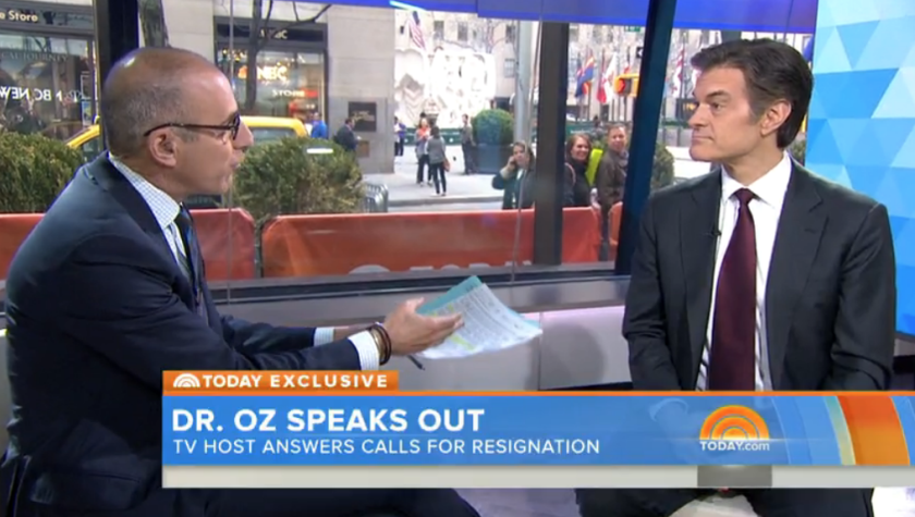 Dr. Mehmet Oz, right, takes questions from NBC's Matt Lauer.