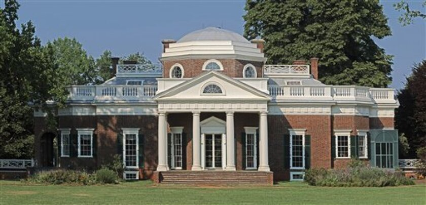 This June 9, 2008 image provided by the Monticello Foundation shows the home of Thomas Jefferson in Charlottesville, Va.  Several new projects launching this winter will shed light on the slaves who lived and worked at Monticello.   (AP Photo/Monticello  Foundation)