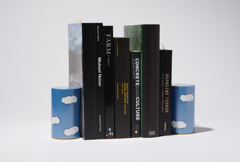 The book fair will have books — as well as book-related objects, such as these bookends by the team at wHYArchitecture in Los Angeles.
