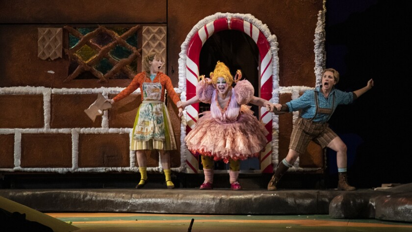 LOS ANGELES, CA - NOVEMBER 15, 2018: Hansel and Gretel, played by Sasha Cooke and Liv Redpath, are g
