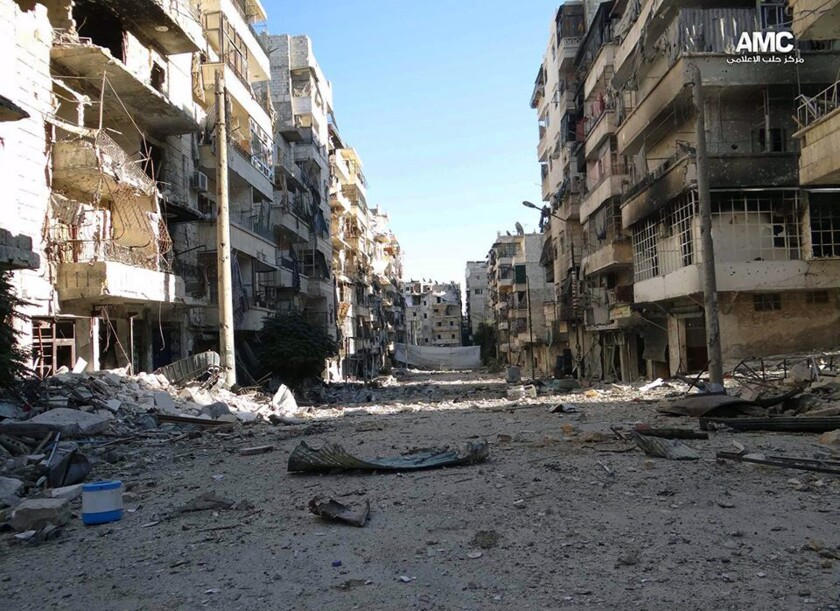 Opposition activists provided this image showing the damage caused by heavy fighting between government and rebel forces in Aleppo, Syria.