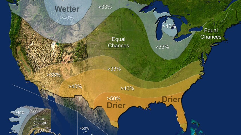 This map provided by NOAA shows the winter precipitation outlook for the U.S. It doesn't look good for drought-hit California.