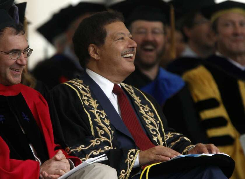 Nobel Prize winner Ahmed Zewail laughs before his 2011 commencement address at Caltech because he was introduced incorrectly as a Pulitzer Prize winner. The chemistry and physics professor died Tuesday at age 70.