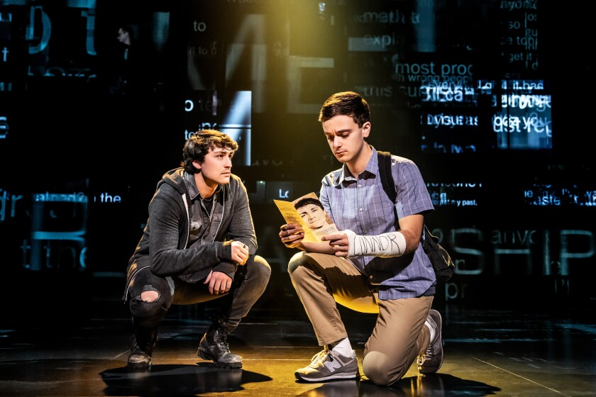 "Noah Kieserman (left) and Stephen Christopher Anthony in the touring production of ""Dear Evan Hansen."""