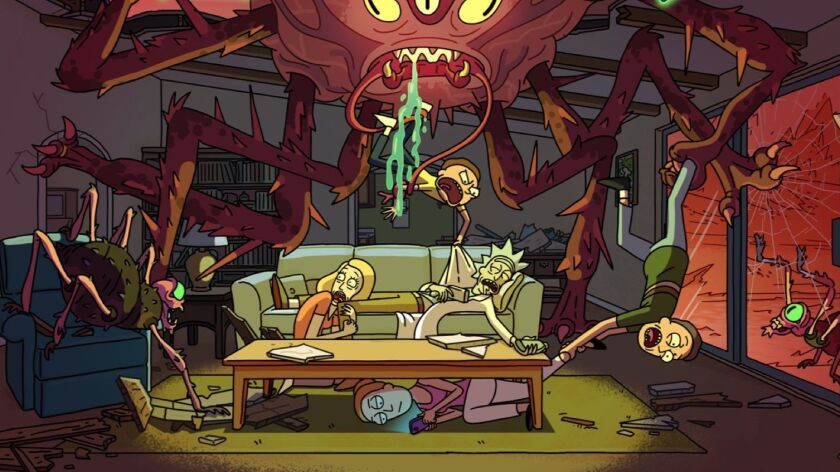 """The Smith family and Rick Sanchez from """"Rick and Morty."""""""