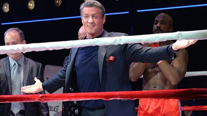 "Actor Sylvester Stallone takes the curtain call at the ""Rocky"" Broadway opening night in New York on March 13, 2014."