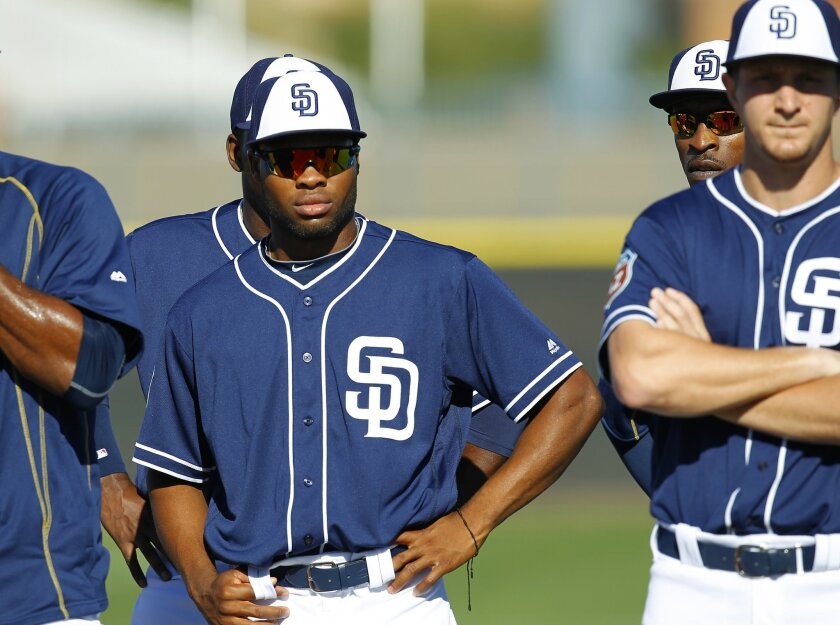 San Diego Padres outfielder Manuel Margot looks on during a spring training practice.