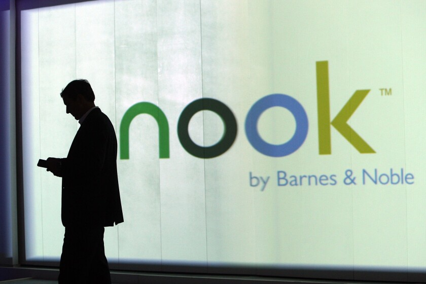 William Lynch, then president of Barnes and Noble.com, presents the Nook at an Oct. 20, 2009, event in New York City.
