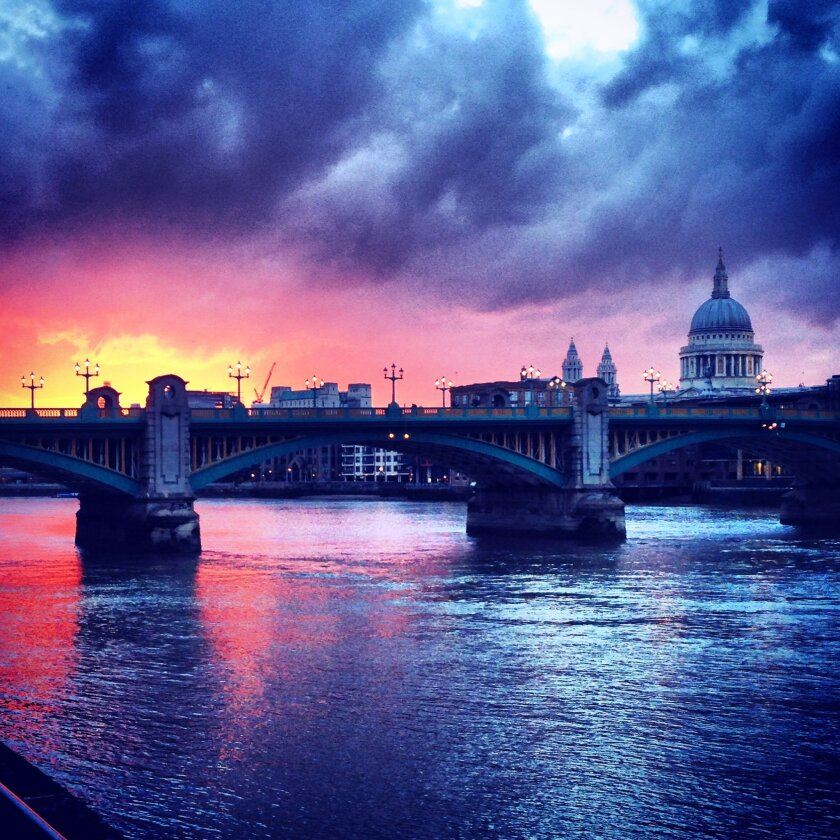 A London sunset captured by a University of San Diego student in a study abroad program.