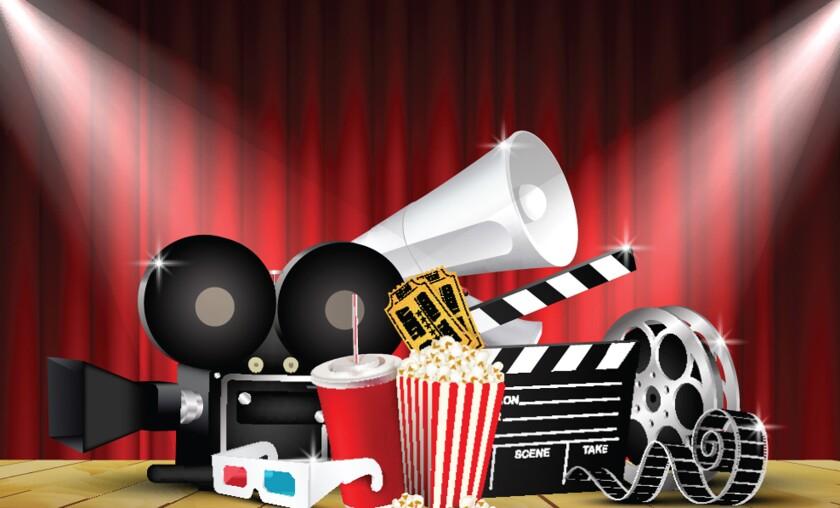 movie images - camera, film, popcorn, drinks