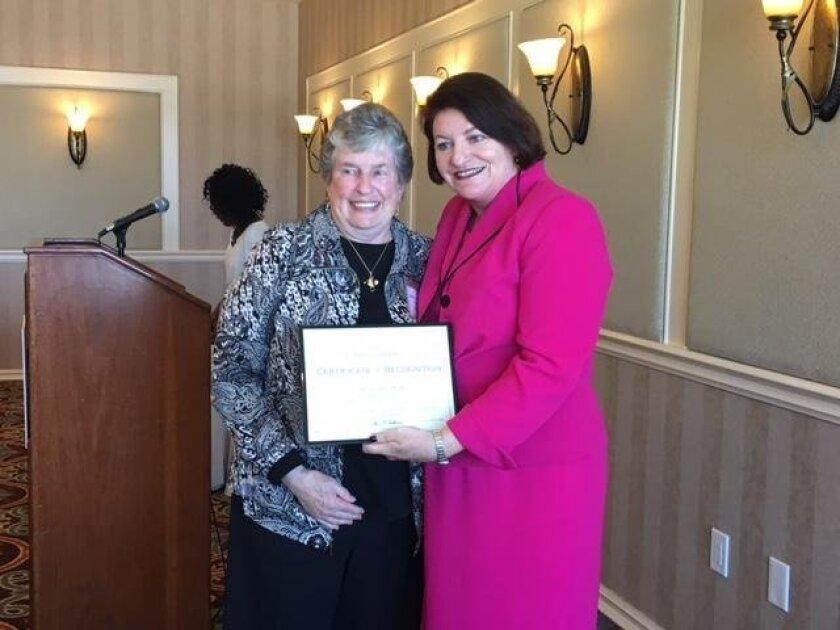 La Jolla resident Mary Coakley-Munk (left) with Speaker Emeritus Toni Atkins