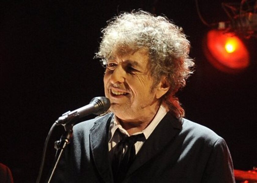 "Bob Dylan, shown in a 2012 file photo, returns to the Great American Songbook in his new album ""Fallen Angels,"" due May 20."