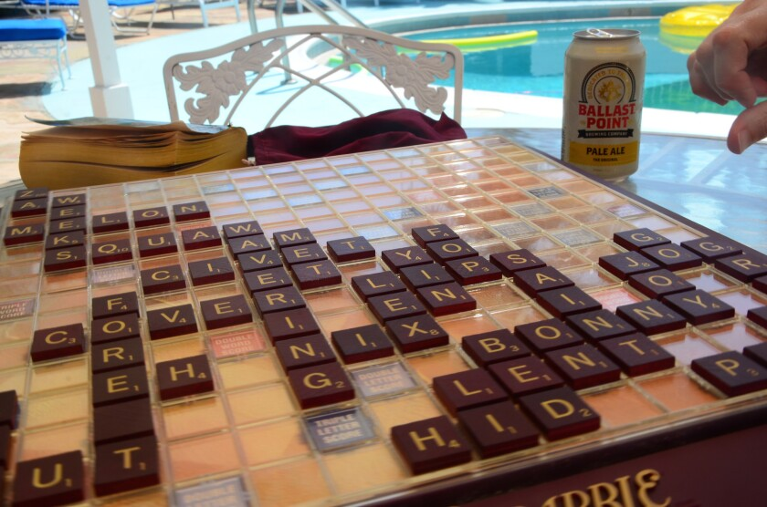 A poolside Scrabble game at Ruby Montana's Coral Sands Inn in Palm Springs.