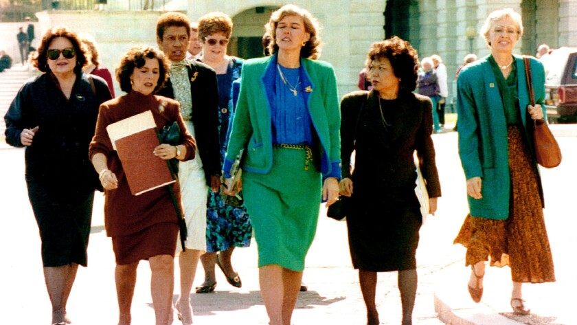 U.S. Rep. Patricia Schroeder (D-Colo.), center, leads a Democratic delegation from the House of Representatives to the U.S. Senate on Oct. 8, 1991, to voice concern over the Supreme Court nomination of Clarence Thomas. With her are, from left, Louise M. Slaughter of New York, Barbara Boxer of California, Eleanor Holmes Norton of the District of Columbia, Nita M. Lowey of New York, Patty T. Mink of Hawaii and Joelene Unsoeld of Washington State.