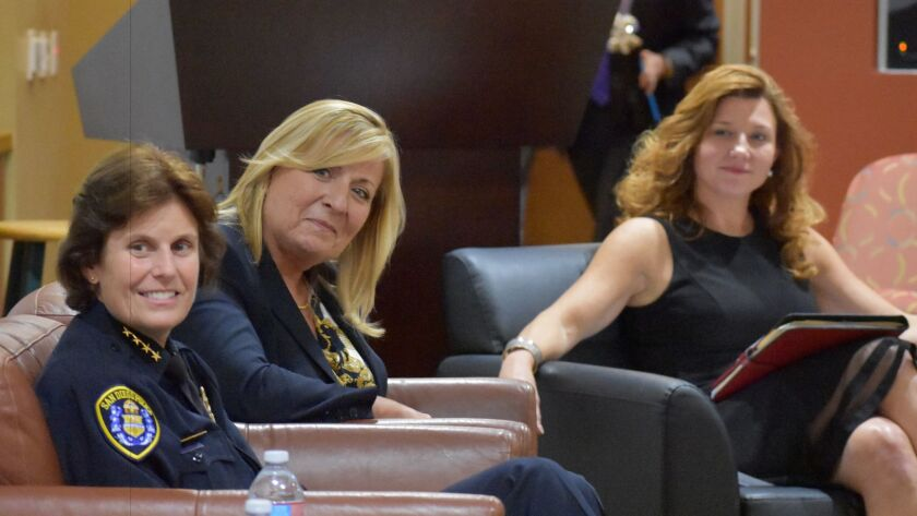 At the recent Advisor of the Year award event at the La Jolla Institute for Allergy and Immunology was the 'Game Changers: Women in the C-Suite,' a panel featured San Diego Police Chief Shelley Zimmerman and business consultant Cindy Candela, moderated by Departure CEO Emily Rex.