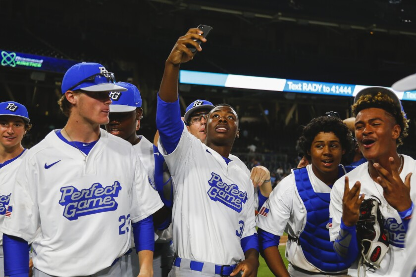 The West team savors its victory in last year's Perfect Game All-American Classic at Petco Park.