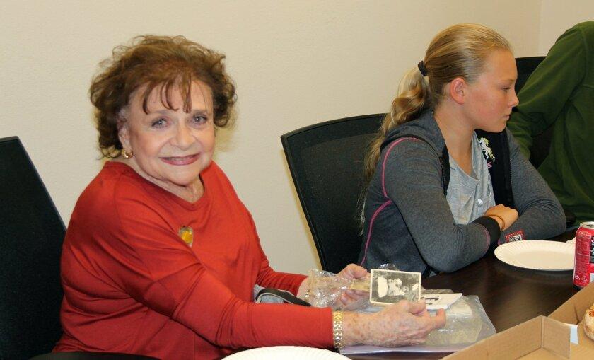 Holocaust survivor Vicki Hartman spoke with eighth-graders at R. Roger Rowe School. Photo by Karen Billing