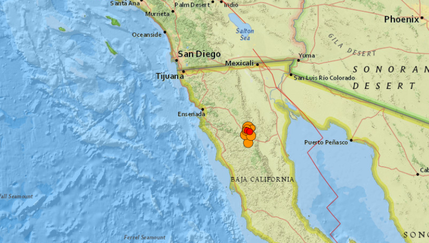 A 5.1 earthquake erupted in Baja California on Monday, producing shaking felt in San Diego County.