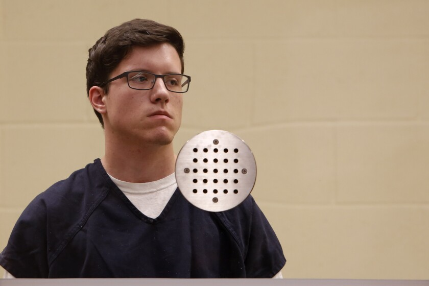 John Earnest, who faces chargesof murder and attempted murder in the April 27, 2019, assault on the Chabad of Poway synagogue, appears for his arraignment hearing on April 30 in San Diego.