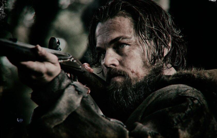 "Leonardo DiCaprio as Hugh Glass in ""The Revenant."""