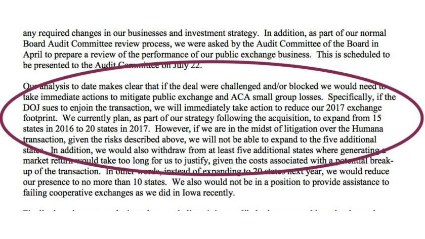 Not such a veiled threat? Aetna's Mark Bertolini tells the DOJ what will happen if it blocks the Humana merger. After the DOJ sued to kill the deal, Aetna cut back even more.