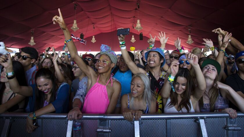 Fans of Cashmere Cat enjoy themselves at the 2015 edition of the Coachella Valley Music & Arts Festival.