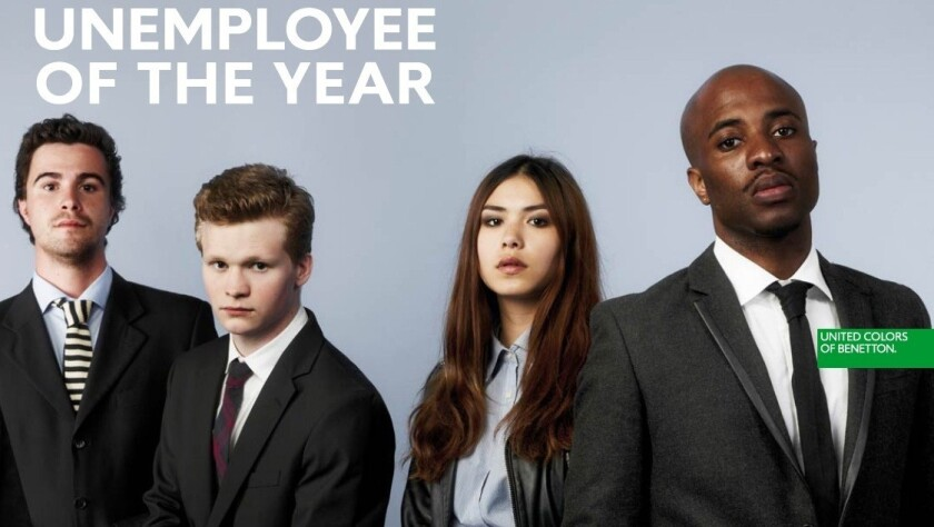 """United Colors of Benetton launches its """"Unemployee of the Year"""" contest."""