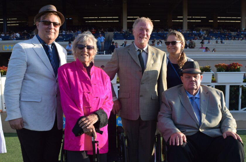Eric O'Brien Garten, Mavourneen 'Baja' O'Brien, Kris Alderton, Ivonne Klug and Kurt A. Garten (seated) were in the winner's circle of the Pat O'Brien Stakes on Aug. 24 at Del Mar.