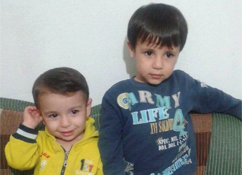 This handout photo courtesy of Teema Kurdi shows Aylan, left, and Galib Kurdi. The body of 3-year-old Aylan was found on a Turkish beach after a boat carrying him, his 5-year old brother Galib and their parents capsized during a voyage from Turkey to Greece; the boys and their mother drowned.