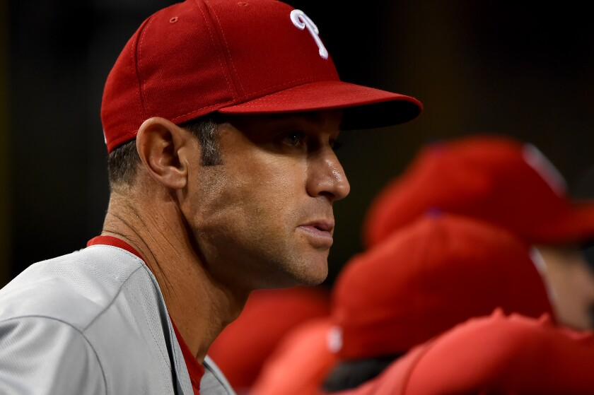 Philadelphia Phillies manager Gabe Kapler looks on during a game against the Nationals.