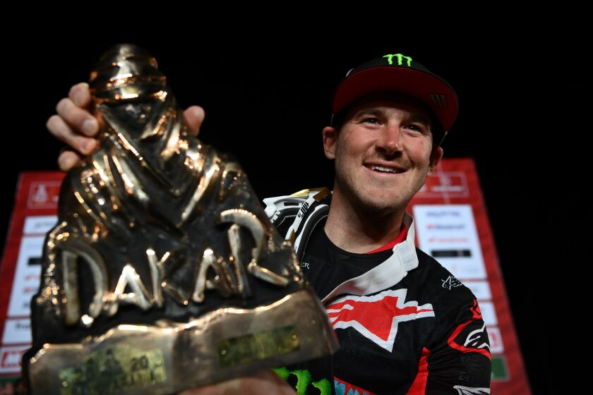 Ricky Brabec won the motorcylce category at the 2020 Dakar Rally.