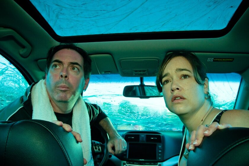 """Michael Shutt and Sara Wagner in La Jolla Playhouse's production of Moving Arts' """"The Car Plays: San Diego."""""""